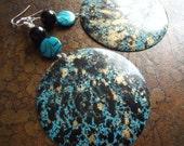 Blue Splash Glass & Mother of Pearl Beaded Dangle earrings