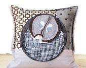 Owl Decorative Art Pillow - Canadian Great Grey Owl Blue Grey Brown Fiber Art Pillow Case