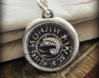 Lion Wax Seal Necklace - Don't Mess Around with Me - Medieval wax seal jewelry in eco friendly fine silver - E2175