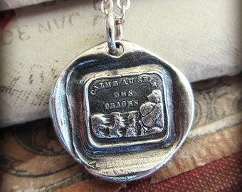 Calm in the Storm Wax Seal Charm Necklace - Keep Calm, Carry On - A smooth sea never made a skilled sailor - Weather Life's Storms - FS690