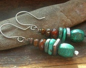 Turquoise blue aqua earthy stacked turquoise stone Czech glass bead earrings bronze Ceramic spacers cinnamon brown sterling silver ear wire