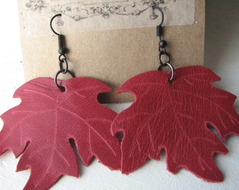 SALE!! Red Leather Maple Leaf Earrings