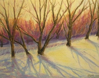 Snowy Bank Oil Pastel Painting