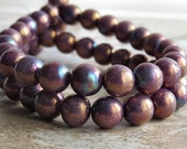 Bronzed Smoke Luster  8mm Czech Glass Round Druk Bead : 25 pc Strand