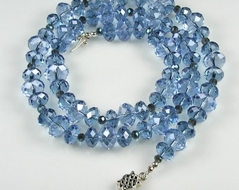 Shades of Blue Crystal and Silver Necklace