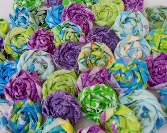 Fabric Flowers - Rolled Roses - Blue - Green -Purple - Wedding Flowers