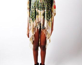 Sheer Bohemian Fringe Nude Asymmetrical Cocoon Beaded Tassel Burnt Velvet Peacock Kimono Duster