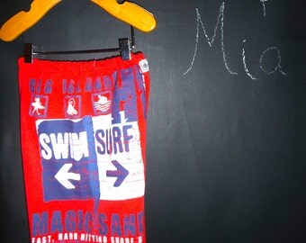 READY to MAIL - UPcycled and REcycled - Children T-shirt Pants -  Swim Surf - Will fit a size 5T up tp 6 Yr- by Boutique Mia