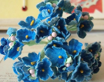 Forget Me Nots / Vintage Millinery / Muted Royal Blue / One Small Bouquet