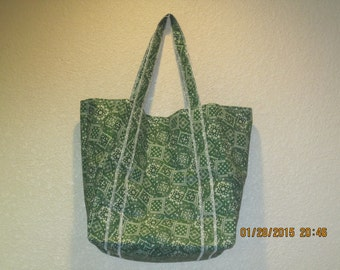 "Double Extra Large Durable 15.5"" Grocery Shopper Reversible Market Tote Bag GREEN Bandana  CLEARANCE 20% Off Was 19.50*"