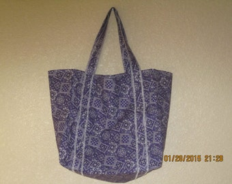"""Double Extra Large Durable 15.5"""" Grocery Shopper Reversible Market Tote Bag PURPLE Bandana  CLEARANCE 20% Off Was 19.50*"""