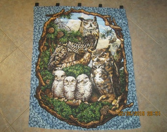 """Owl """"Who Gives a Hoot"""" Wall Hanging 35"""" x 42.5"""" (backed in black cotton fabric) Clearance Sale 25% Off*"""