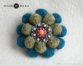 Handmade Crocheted, Felted and Embellished Wool Bobble Brooch Pin in Heather Green & Teal