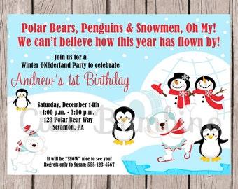Winter Wonderland Birthday Party Invitation / PRINTABLE Penguin, Snowman, Polar Bear Invitation / Ice Skating Party / You Print - 005