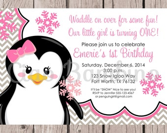 Pink and Gray Penguin Birthday Party Invitation / PRINTABLE Winter ONEderland Party Invitation / Winter Wonderland / You Print - 0012