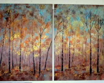 X Large oil painting tryptict 60 x 40 x 1  -  Fall Memories  - copper, gold, brown , aqua , grey