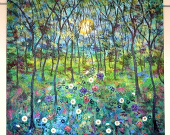 Large original mixed medium painting  impasto modern contemporary , Merlot ,  purple , blue  Sunny Day Meadow Vadal - 30 x 30 '