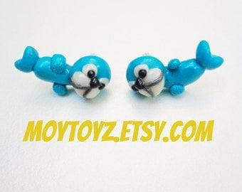 Kawaii Aqua Blue Seal Earrings