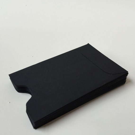 100 black mini envelopes  small black envelope  open end
