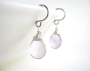 Purple Amethyst Earrings - February birthstone, light lavender pink amethyst, genuine small drop gemstone, available in silver, gold, bronze