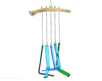 Blue and Green Wind Chime,Glass Wind Chime,Glass Windchime