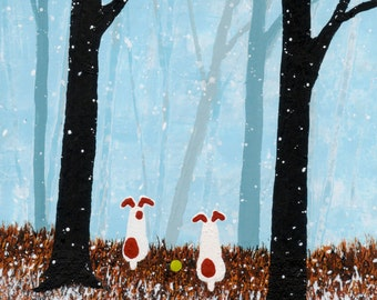 Jack Russell Terrier Dog folk art PRINT of Todd Young painting FIRST SNOW