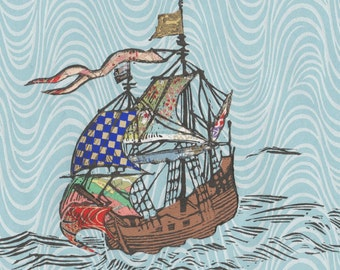 Sailing Ship XXVI - Block Print with Mixed Papers - Lino Block Print Historic Sailing Ship on Collaged Japanese Papers & Ephemera