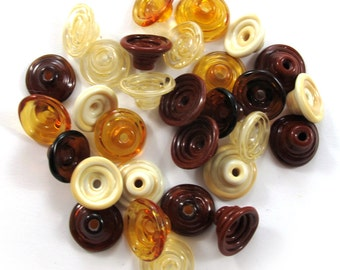 Handmade Lampwork Beads Glass - Lampwork beads set - Mix Caps - Cone Shape Bead Caps, browns  (30) SRA