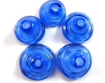 Handmade Lampwork Beads Glass, Lampwork beads set, Cone Shape Bead Caps, blue(5) SRA