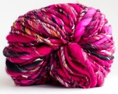 Handspun Yarn thick and thin pink fiesta 110 yards hand dyed merino wool pink art yarn waldorf doll hair knitting crochet supplies