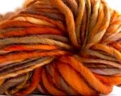 Handspun Yarn Brave A 62 yards bulky yarn red orange brown yarn hand dyed merino wool waldorf doll hair knitting supplies crochet supplies