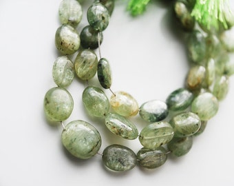Half Strand, Green Kyanite Smooth Oval Beads, 5-11MM