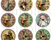 "1"" Inch Alice in Wonderland Clock Flatback Buttons, Pins or Magnets 12 Ct. Set A"