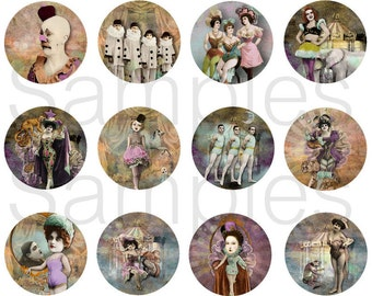 "1"" Whimsical Circus Sideshow Flatback Buttons, Pins, Magnets 12 Ct."
