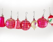 Glass Christmas Ornaments : Magenta and Red Large Glass Balls, Indent Drops, and Bells