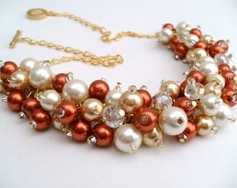 Set of 7 Necklaces - Fall Wedding Jewelry, Chunky Pearl Beaded Necklace, Burnt Orange Ivory and Gold, Bridesmaids Jewelry, Cluster Necklaces