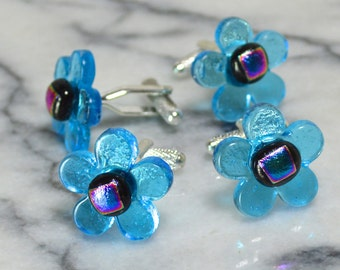 Fused Glass Flower Cufflinks - Dichroic Detail Centre -  Silver T-Bar Fittings  - Semi Transparent Turquoise Blue - Gift Boxed