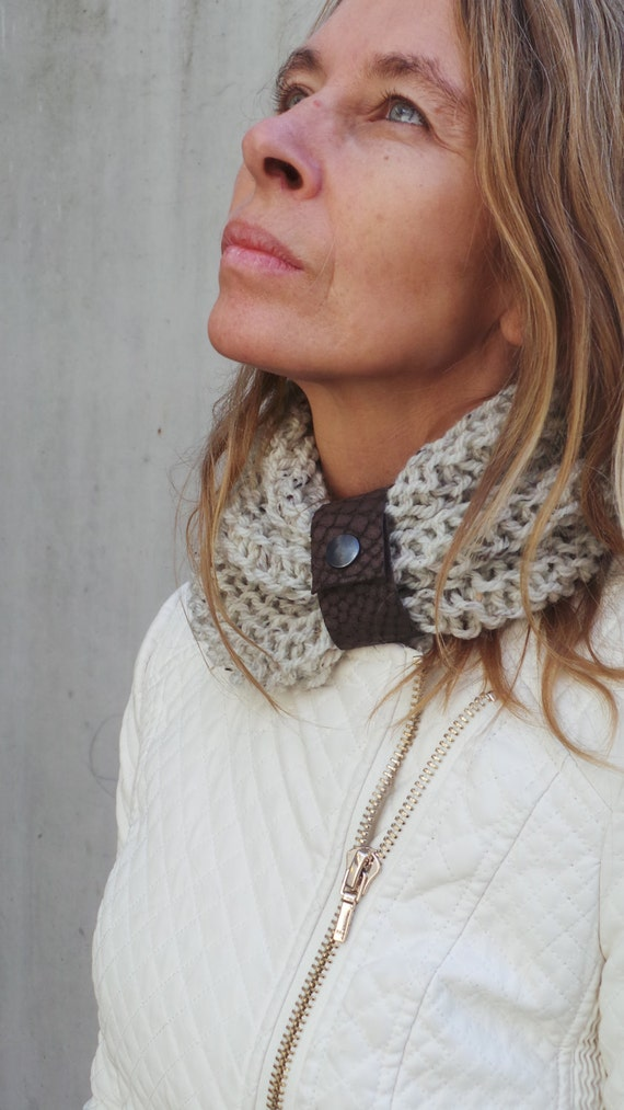 beige scarf, beige collar, beige cowl, button up scarf,  Click-it limestone collar with a brown leather cuff READY TO SHIP