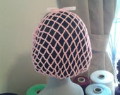 Pink acrylic crocheted 1940s ribbon snood/hairnet. 3 Sizes available