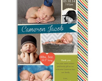 Photo Birth Announcement/Boy Baby Announcement/Personalized Birth Announcement/Modern/Baby Thank you card/Print yourself/free background