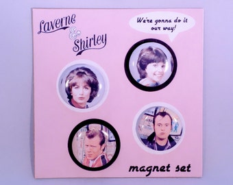 Laverne and Shirley classic TV refrigerator magnet set