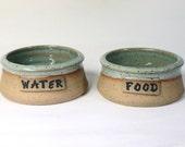 "6"" medium Custom name animal Bowl, Dog dish, Cat Dish, Hand made pottery, made to order"