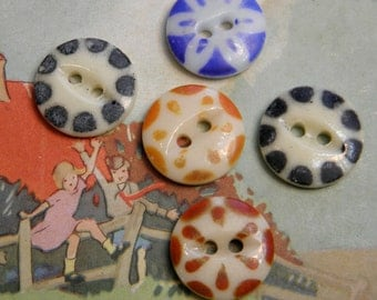 5 Vintage China Stencil Buttons