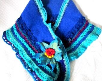Felted flower/ hand crochet scarf / Wearable art / accessories /wool /merino wool
