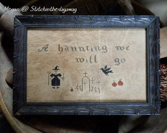 PriMiTiVe - - A hAunTinG We WiLL Go - - EaRLy LoOk CrOSs STiTcH  SamPLeR - - LOVe -  AnTiqUe FraMe