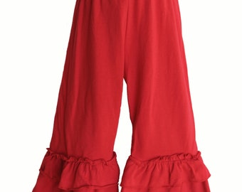 Girls Red Triple Ruffle Pant / sizes available 3,4,6,6x