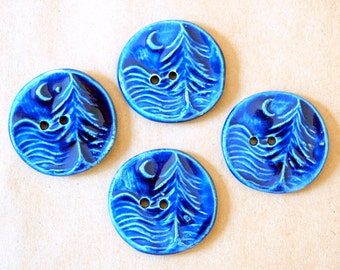 4 Handmade Ceramic Buttons - Moon over Cedar Buttons -  Rich Blue Buttons in Stoneware