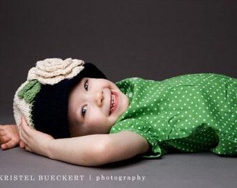 "Crocheted Cloche  Hat ""The Ashley"" Navy, Ecru, Sage Bucket Hat Flapper Style Flower 2 Tone Baby Gift"