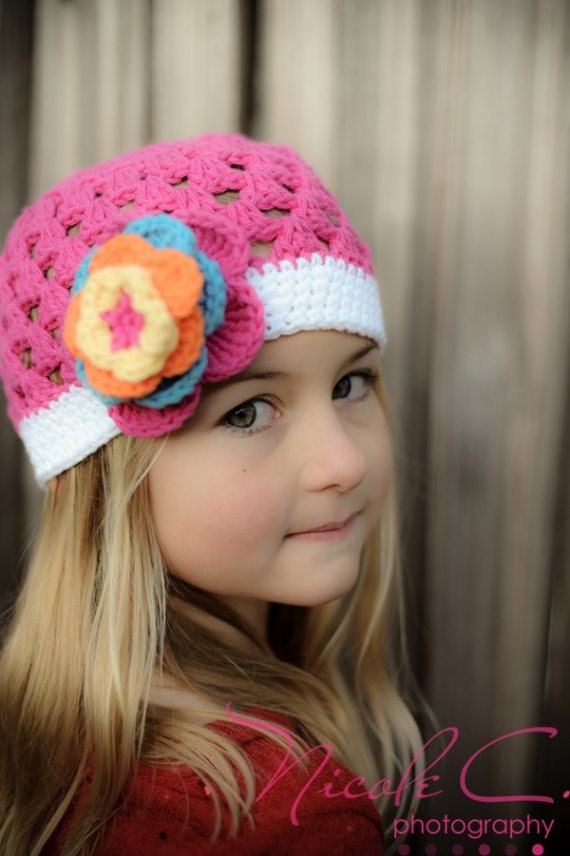 "Crocheted Beanie Hat ""The Nicole"" Pink Blue Orange Yellow White Colorful Bright Summer Photo Prop Vibrant"