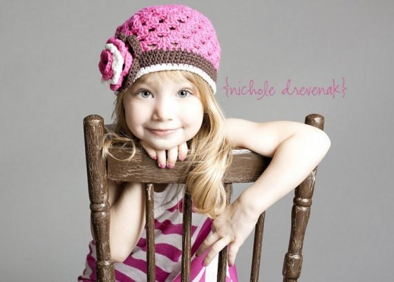"Crocheted Beanie Hat ""The Hadley"" Hot Pink Chocolate White Flower Trim Open Weave Hat"